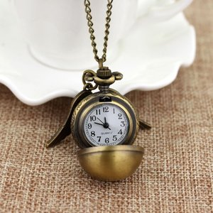 Harried Golden Snitch Pocket Watch Necklace Potters Retro Ball Watch Accessories Big Wing Pendant For Boys Girls