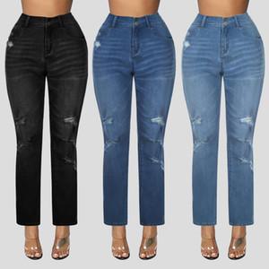 New Womens Jeans Plus Taille Femmes Button Poche High Taille Denim Pantalon Pantalon Décontracté Pantalon 2021 Automne Pantalon d'hiver