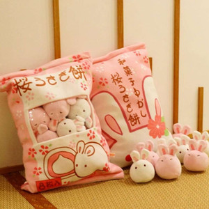 red Ins net Japan lovely cherry Bunny doll lazy snack pillow plush toy girl heart gift