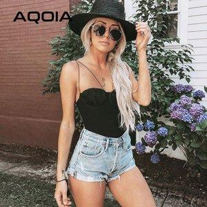 Bodysuit grundiert AQOIA Fashion New Sexy Beach Beiläufige schwarze Frauen Art dünner Solide Polyester Feiner Ärmel Strapless