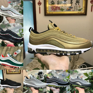 Nike Air Max 97 shoes New Airmax 97 2021 Triple White OG X Mens Scarpe da corsa all'aperto Breddtd Undddd Nero Nero Sliver Follet Argento Metallo Oro