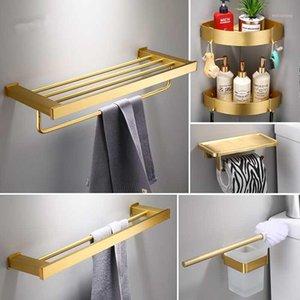 Accesorio de baño Conjunto Espacio Aliminum Toalla Anillo Montado en la pared Rollo de inodoro Papel Hodler Robe Hook Cepillado Oro Toalla Rack Shelf1