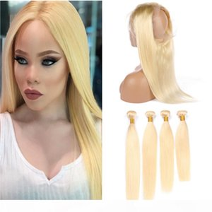 613 Blonde Human Hair 4Bundles with 360 Frontal Straight Bleach Blonde Brazilian Virgin Hair Weaves with 360 Full Lace Closure 22.5x4x2&quot