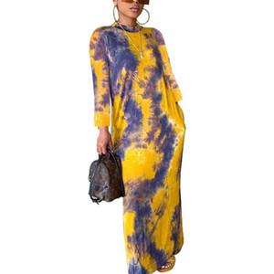 Tie Dye Kadın Tasarımcı Elbise Sonbahar Uzun Kollu Mürettebat Boyun Seksi Elbise Moda Günlük Kadın Giyim