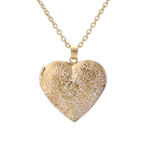 Personalized Retro Love Heart Shape Carved Pattern Box Pendant Necklace Can 0pen Item Accessories Jewelry Wholesale for Women Gift