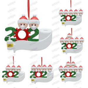 2020 Christmas Quarantine Ornaments Customized Gift Survivor Family Hang Decoration Snowman Pendant With Face Mask Hand Sanitizer Xmas DHL