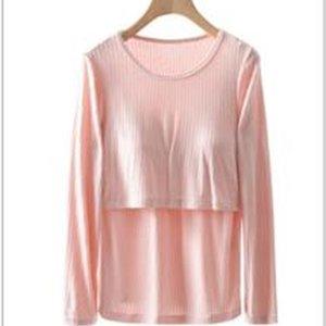 ALIMENTAZIONE T-shirt manica lunga in cotone a maniche lunghe t-shirt tinta unita girocollo gravidanza t-shirt infermieri pad maternità vestiti LJ201118