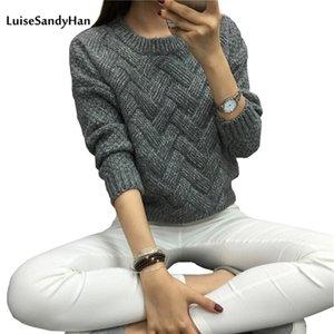 LuisesAndyhan Frauen Pullover Weibliche Beiläufige Pullover Plaid Oansatz Langarm Mohair Pullover Herbst- und Winterstil 201221