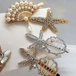 Korean Fashion Pearl Crystal Rhinestone Hair Clip Charm Women Geometry Barrettes Handmade Girls Duckbill Clip Hair Accessories Party Gifts