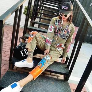 Women Cartoon Graffiti Printed Short Sleeve Jumpsuit Turn Down Collar One Piece Overalls Turn Down Collar Hip Hop Pants