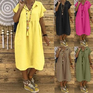 Women Summer Style Feminino Vestido T shirt Cotton Casual Plus Size Ladies Dress Casual Linen Dress Drop Shipping