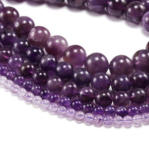 1strand Lot 4 6 8 10 12 Mm Natural Purple Amethystes Crystal Stone Round Beads Loose Spacer Bead For Jewelry Making Diy H bbyNir