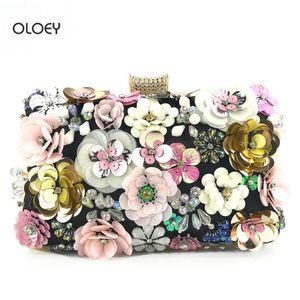 OLOEY New women's dinner bag ladies handmade color flower beaded shoulder bag messenger banquet clutch cross body woman