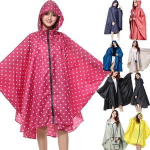 Rain Coat Women Casual Hooded Batwing Sleeve Patchwork Loose Button Above Knee Rain Summer Casual Outdoor Coat Jacket 2019 New1