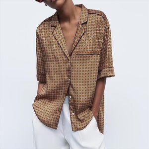 RR Summer Pajama Style Notched Blouses Women Fashion Loose Printed Shirts Women Elegant Short Sleeve Tops Female Ladies HD