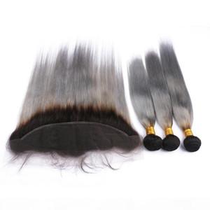 Brésil Cheveux gris 1B Ombre Weave Bundles 3Pcs avec Frontal Fermeture 13x4 gris argent Ombr de dentelle Frontal avec Virgin Hair Trames
