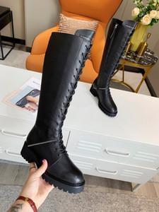 Femmes Chunky Heels Platform Marque Marque Designer Zippers à lacets Long Bottes Femmes Cuir Véritable Bottes High Bottes Taille 35-41