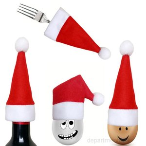 Mini Santa Hat Pocket Fork Knife Cutlery Holder Wine Bottle Cover Christmas Decorations Festive Party Supplies DHD709