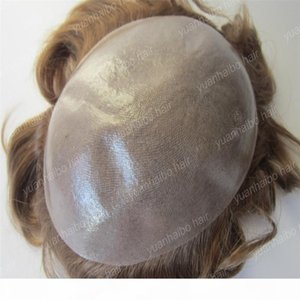 Hot sale 6inch virgin european hair loose wave thin skin pu base light brown full thin skin toupee for men free shipping
