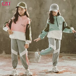 LZH 2020 Autumn Teens Kids Girls Clothes Fashion Pullover+Trousers 2pcs Suit Children Clothing For Girls Sportswear Set 4-12Y Q1203