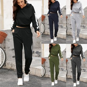 Womens Long Sleeves Hooded Sweatshirt With Long Trouser Suit Casual Sport toppies official store tracksuit Plus Size 8.19 Y1123