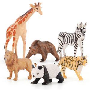 6Pcs Simulation wild Animals Model Toys Set Giraffe lion Plastic Action Figures Educational Toy for Children Kid Toy Figure Gift