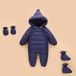 OLEKID Autumn Winter Newborn Rompers Hooded Warm Cotton Baby Boys Jumpsuit Toddler Girls Snowsuit Infant Baby Girl Overalls 201118