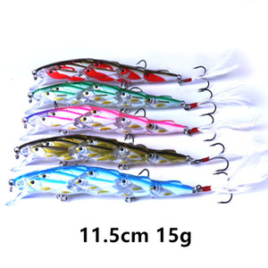 1 pc 5 cor misturada 11,5 cm 15 g minnow ganchos de pesca 6 # gancho iscas duras iscas iscas artificiais pesca pesca tackle f37-346