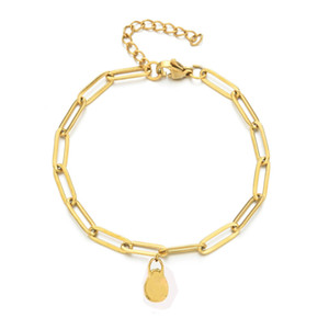 New Trendy Stainless Steel Chain Lock Bracelets For Women Gold Color Oval Box Adjustable Bracelet Classic Women Designer Jewelry Gift