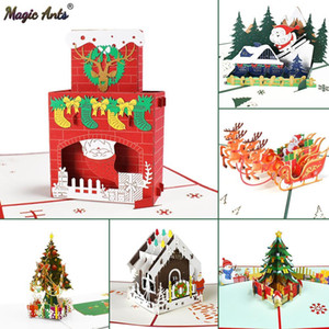 Merry Christmas Cards Christmas Tree Winter Gift Pop Up Cards Christmas Decoration Stickers Laser Cut New Year Greeting Cards GWE3620