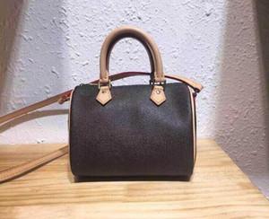 Top Grau Marrom Mini Couro Genuíno 16cm Lady Bolsa Nano Speedy Mulheres Desenhador De Moda Bolsas De Ombro Messenger Oxidation Leather Bags