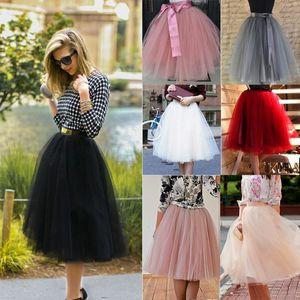7-LAY MIDI TULEUL ROK для девочек Мода TUTU Курение Женщины Сплошные кружевные балдреи Party Petticoat Lolita Faldas Saia Jupe