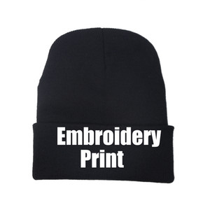 DIY Winter Hats Embroidery And Printing Custom Streetwear Bonnets Solid Cap Beanie Team Knitted Hat
