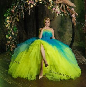 New Arrival Colorful Quinceanera Dresses 2021 Yellow Blue Ball Gown Prom Dress Strapless Tulle Vampire Formal Sweet 16 Cosplay Birthday Gown