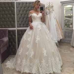 Setwell Sweetheart Ball Gown Wedding Dresses Short Sleeves Lace Appliques Pleated Tulle Floor Length Bridal Gowns