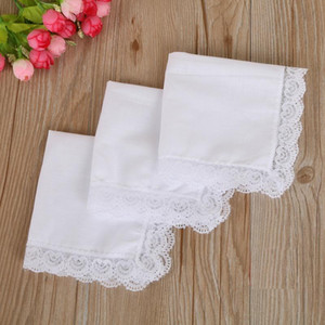 Christmas gift White Lace Thin Handkerchief Woman Wedding Gifts Party Decoration Cloth Napkins Plain Blank DIY Handkerchief 25*25cm BWD3305