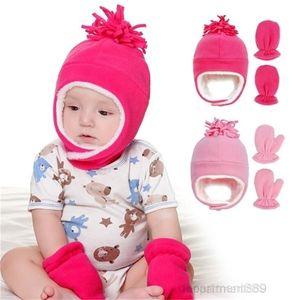 AA-Lei Feng Hat Gloves Kid Solid Polar Fleece Beanie Children Keep Warm Velvet Caps Glove Skull Autumn Winter Outdoor Ear Protection DHD1343