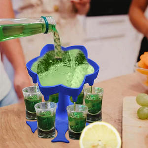 6 Shot Glass Dispenser Holder Wine Whisky Beer Dispenser Rack Bar Accessories Caddy Liquor Dispenser Party Games Drinking Tools RRE3438