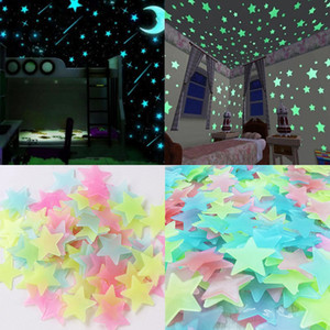 100 pcs Set 3D Stars Glow In The Dark Wall Stickers Luminous Fluorescent Wall Stickers For Kids Baby Room Bedroom Ceiling Home Decororation