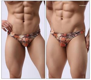 Breathable Low Waist Flower Underwears Men Casual Designer Underpants Mens Vintage Sexy Slim Briefs Man Fashion