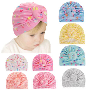 2020 European and American autumn new children's hats baby cotton donut turban hat baby striped hood ins