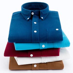 Aoliwen Brand Classic Corduroy Button Business Business Shirt occasionnel pour hommes Highqualitalité de flanelle à manches longues