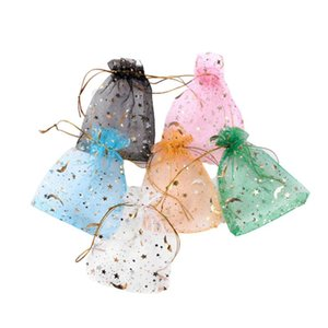& Pouches Pptbo Packaging Bags Bags Christmas Gift Charm Drawstring Jewelry Moon Star 7x9 Small 100pcs lot 9x12cm Organza Bag Vtghw
