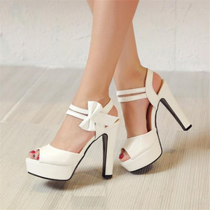 Sandals female summer 2020 new high-heeled fish mouth shoes bow sexy rough with waterproof platform Roman womens shoes