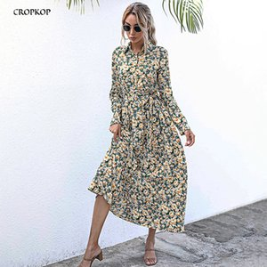 Button Up Shirt Dress Autumn Spring Casual Floral Flower Print Long Sleeve Womens Clothes Fall 2020 Red Long Dresses For Women Z1202