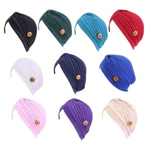Free shipping Women Solid Color Bonnet Hat with Button Mask Holder Anti-Tight Turban Cap