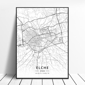 Картины Elche Pamplona Vitoria-Gasteiz Madrid Albacete Santander Oviedo Испания Canvas Art Map Poster