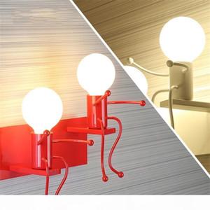Nordic American Iron Art Wall Lamp White black red Bedroom Bedside Wall Lights Aisle Decor Robot Lighting Luminaria