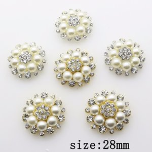 Fashion Hot 20Pcs 28mm Round alloy Diy jewelry Accessories Flat Back Imitation pearls Rhinestone Base Wholesale Handmade Fitting