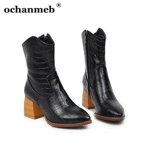 Ochanmeb Snake Print Boots Western Boots PU Leather Snakeskin Boots Boots Block Tacchi appuntiti Toe Cowboy per le donne Bootgirl Boot